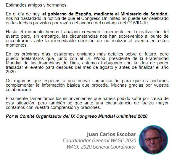 Carta del Comité organizador